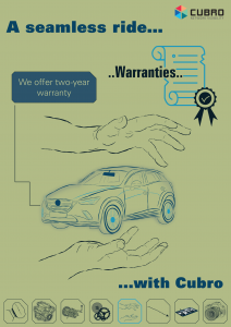 """cubro campaign poster of campaign """"a seamless ride with Cubro"""" - Topic: Warranties"""