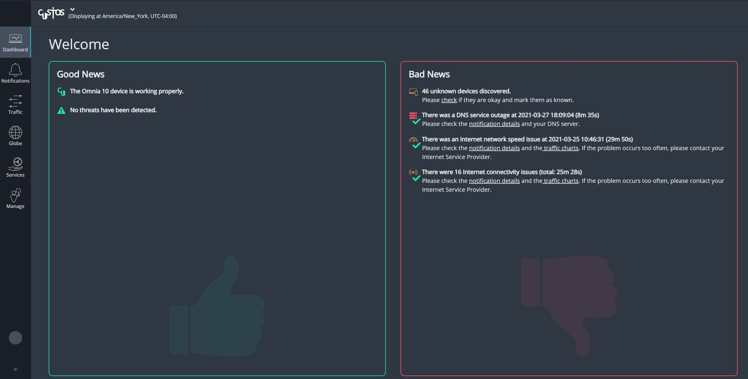 Cubros Network Performance Dashboard