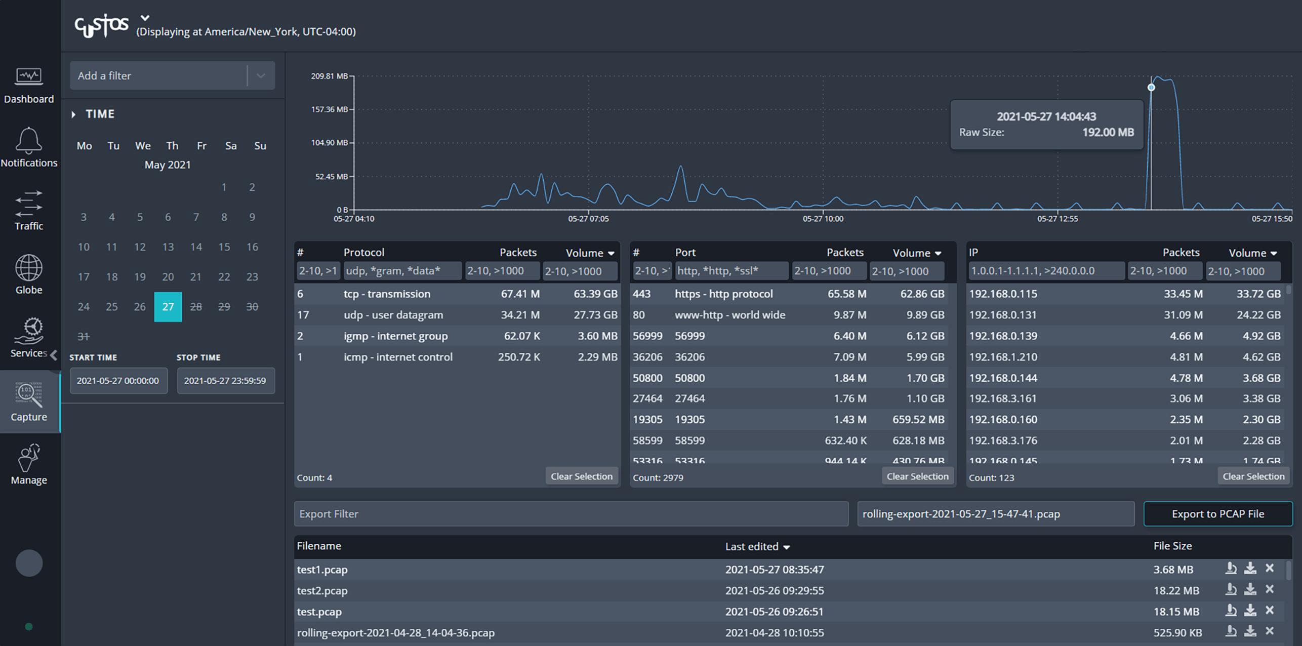Screenshot of Custos rolling capture from Cubro