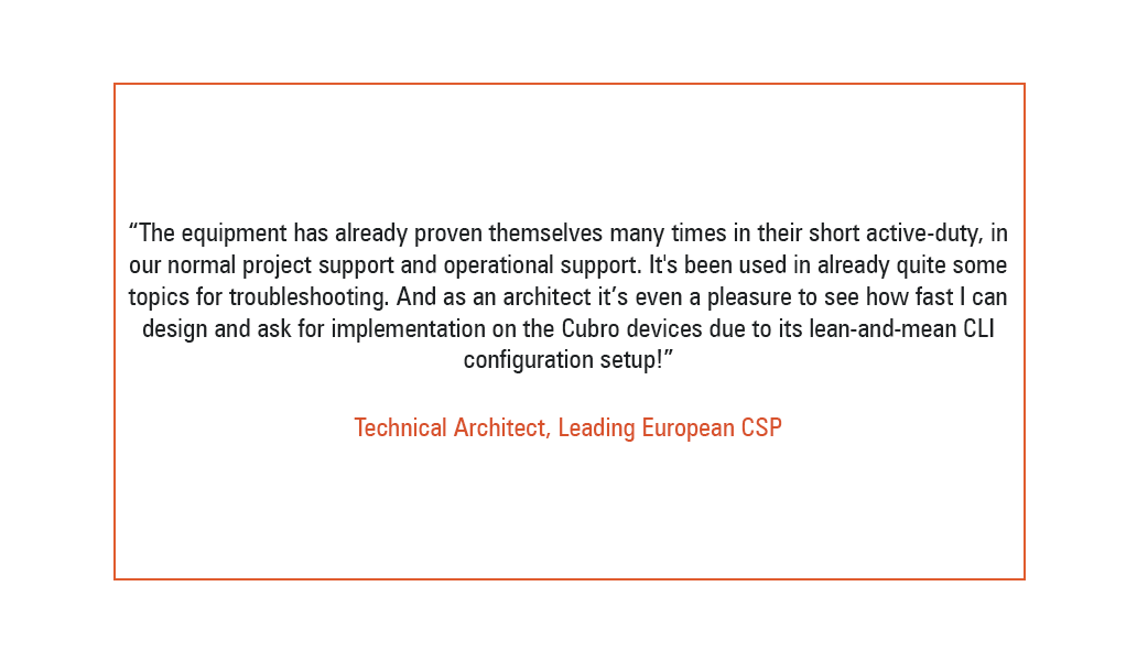 client review for cubro from Leading Eurpoean CSP