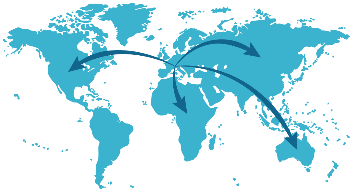 world map in blue with arrows from cubro headquarter Austria to all other continents